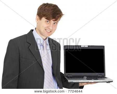 Friendly Smiling Person Holds Laptop On Hand