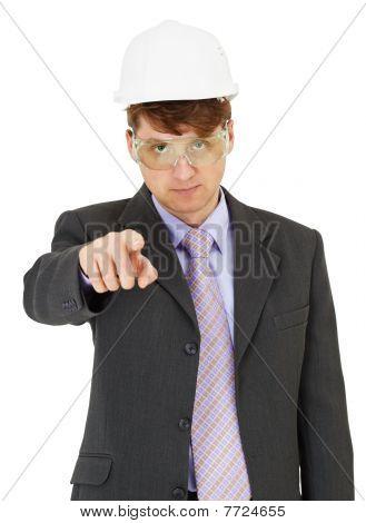 Experte für Sicherheitsvorkehrungen Punkte streng zu einen finger