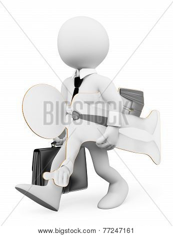 3D White People. Businessman Seeking Work Concept