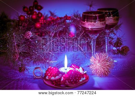 Christmas Still Life  In Lilac-purple Tone