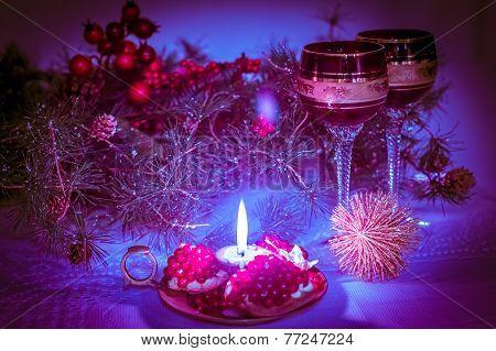 Christmas Still Life  In Lilac-purple Tone