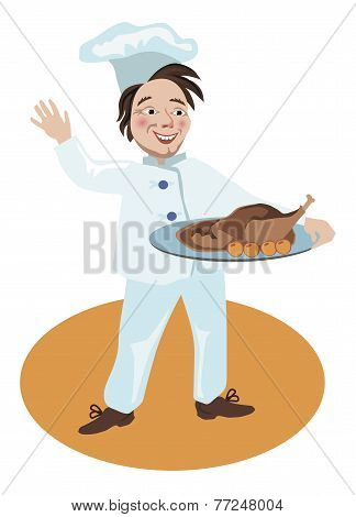 Chef Holding Meal Cooked Goose With Apples