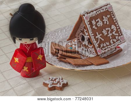 Ginger Gingerbread House With A Wish Of Happiness In Japanese