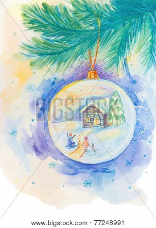 Christmas ball on the fir tree branch