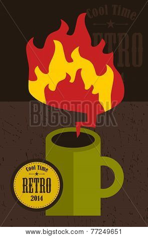 Retro cup with fire flame.