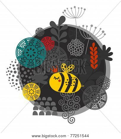Colorful label with bee and flowers.