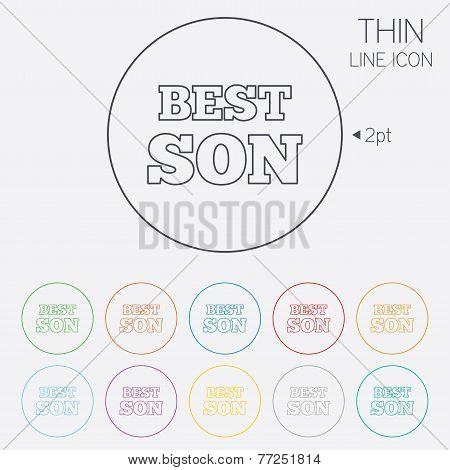 Best son sign icon. Award symbol.