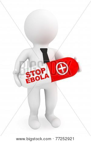 3D Person Hold Pill With Stop Ebola Sign