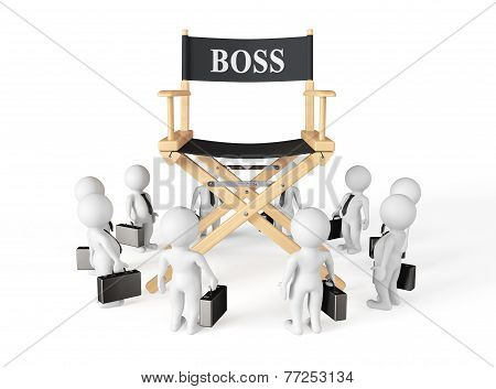 3D Businessmans Around Director Boss Chair