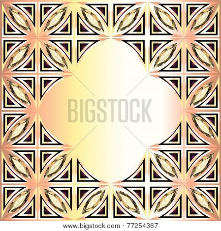 Golden Background With Geometric Designs And Precious Stones