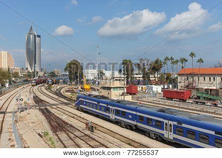 Downtown Haifa, Israel with train station