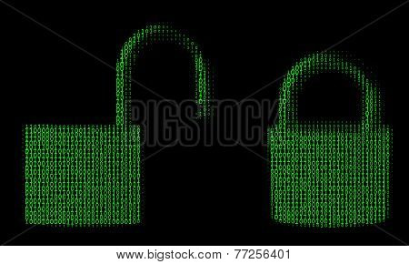 locked and unlocked padlock from binary numbers
