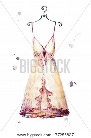 Watercolor nightgown. hand painted. Fashion illustration.