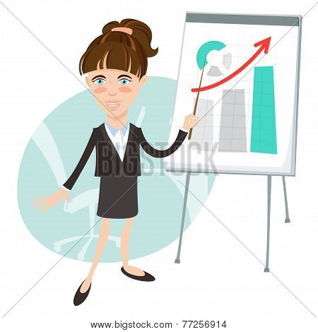 Office woman presenting a graph on flip-chart. Flat style