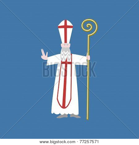Saint Nicolas isolated on blue background