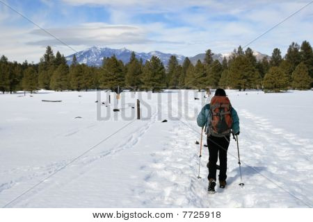 Woman Hiking In Snow