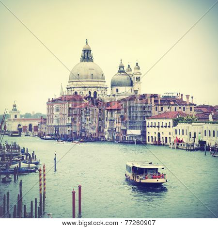 View of Grand Canal in Venice, Italy.  Instagram style filtred image