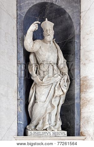 Saint Philip Neri Italian Baroque sculpture - 18th century - in Mafra National Palace and Convent in Portugal. Baroque architecture