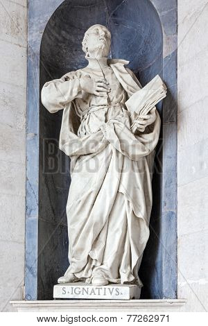Saint Ignatius of Loyola Italian Baroque sculpture - 18th century - in Mafra National Palace and Convent in Portugal. Baroque architecture