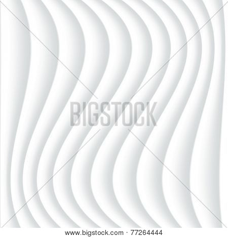 White seamless texture. Wavy background. Interior wall decoration. 3D Vector interior wall panel pattern. Abstract grey background of wavy lines.