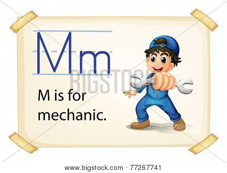 A letter M for mechanic on a white background