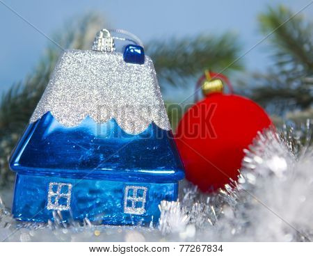 Dark blue New Year's toy small house- idea of dream of own house in New year