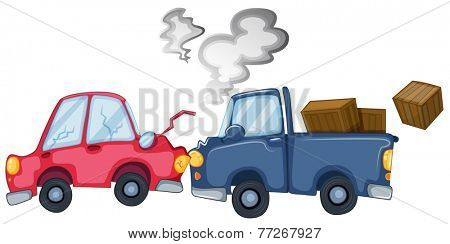 Two vehicles banged one another