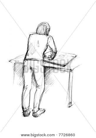 companheiro acima de uma mesa