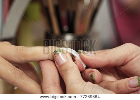 Gluing Nails On Finger