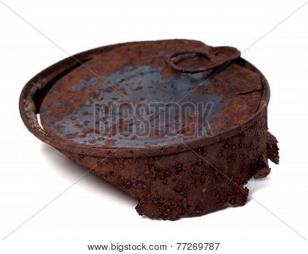 Rusty Tin Can Isolated On White Background