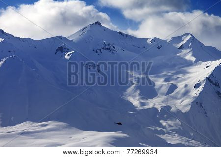 Off Piste Slope For Heliskiing And Helicopter