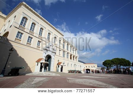 MONTE CARLO, MONACO - October 30, 2014: An exterior view of the Prince's Palace in Monte Carlo, Monaco. The palace is the official residence of the Prince of Monaco