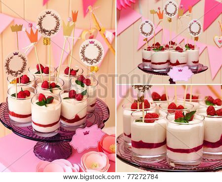 Holiday Buffet Collage. Souffle In Glasses