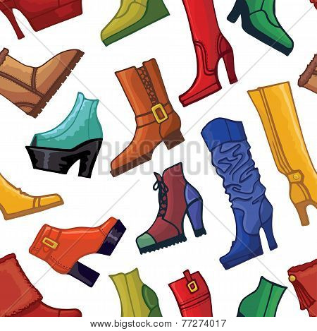 Colored women's boots ,shoes seamless pattern