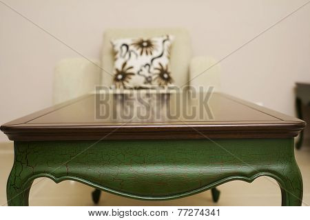 Close-up of a luxurious table corner , solid wood furniture detail