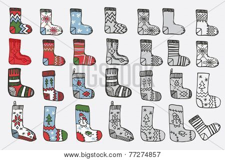 Christmas knitted stockings. Doodle hand sketch