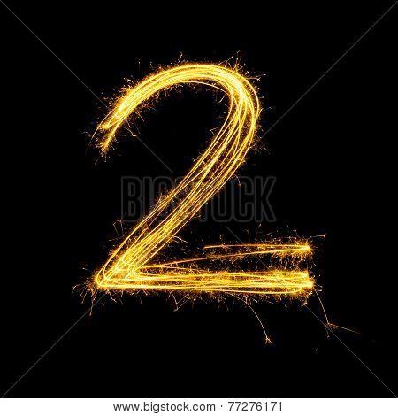 Sparkler Firework Light Alphabet Number 2.