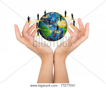 Two woman hands hold earth of social network (Elements of this image furnished by NASA)