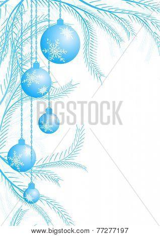 Light blue Christmas balls on the corner background