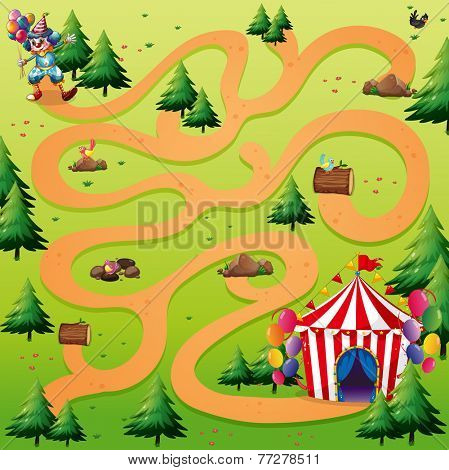 Illustration of a maze with a clown background