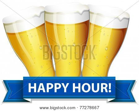 A happy hour template with glasses of beers on a white background