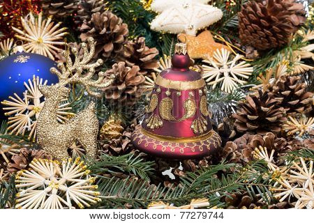 Christmas composition with cone and christmas decorations