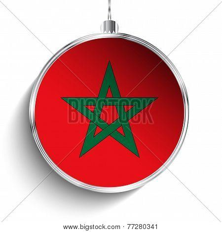 Merry Christmas Silver Ball With Flag Morocco