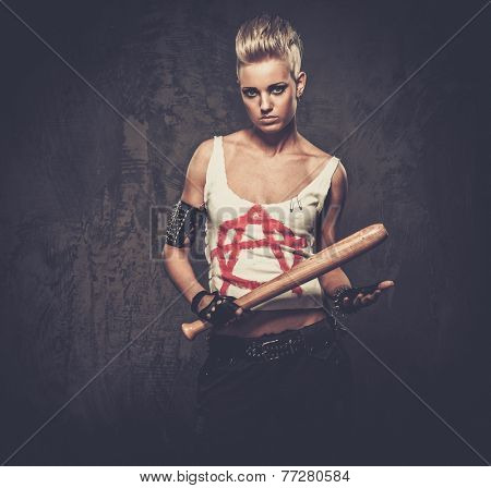 Punk girl with a baseball bat