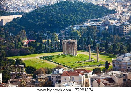 Zeus temple in from top, Athens, Greece