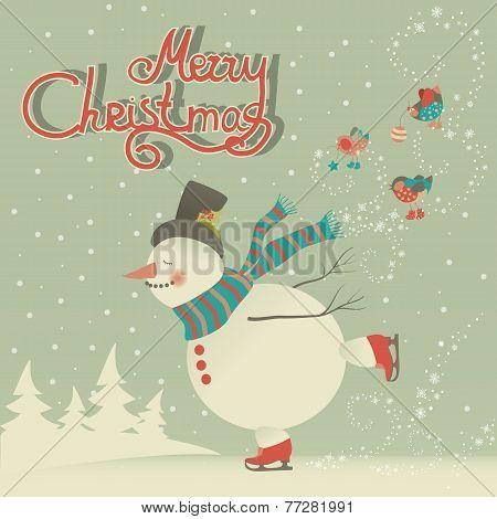Ice skating cartoon snowman