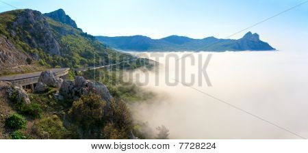 Morning View Of Coastline In Mist And Highway