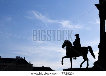 A Silhouette Of A Rider In Vienna, Austria