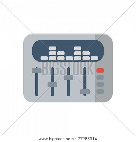 sound mixer icon in flat style on white background, vector illustration