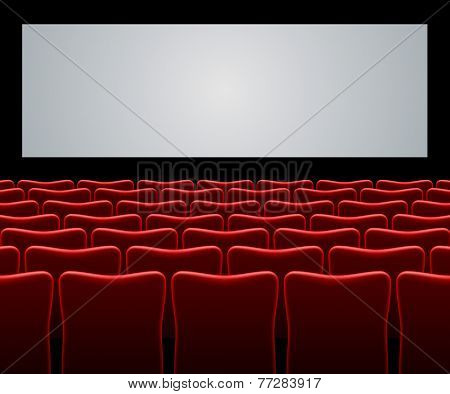 Movie hall with red seats and blank screen vector background.